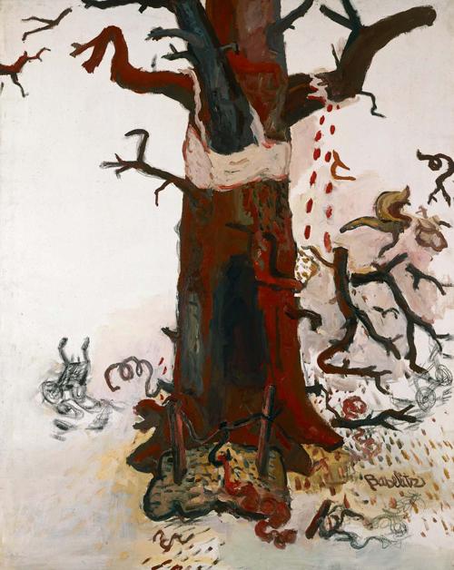 Georg Baselitz. <em>The Tree, </em>1966<em>.</em> Oil and crayon on canvas, 162 x 130 cm. Froehlich Collection, Stuttgart. Photo: Frank Oleski © Georg Baselitz